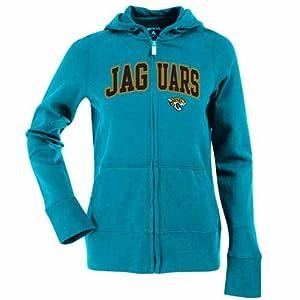 Jacksonville Jaguars Applique Ladies Zip Front Hoody Sweatshirt (Team Color) by Antigua