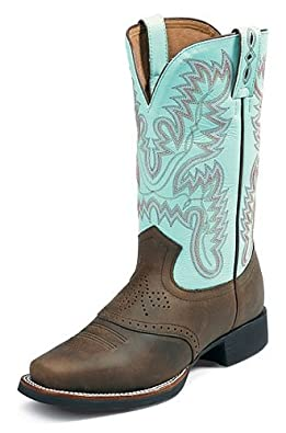 Justin Women's Aqha Stitched Cowgirl Boot Square Toe Bay Apache 6 W US