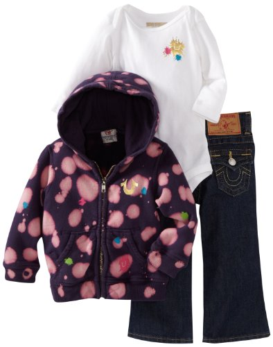 Today Sale True Religion Baby-Girls Infant 3 Piece Box Set, Mud Eggplant, 6-12 Months