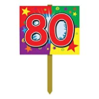 80 Birthday Yard Sign Party Accessory (1 count) from The Beistle Company