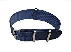 20mm NATO G10 Blue Nylon Military Watch Band Strap