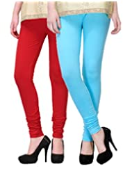 2Day Women's Cotton Churidaar Legging Red/Sky Blue (Pack Of 2)