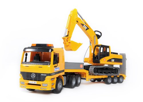 Bruder Mercedes-Benz Actors Low Loader Truck with CAT Excavator  Combo