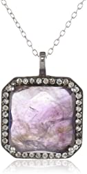 Sterling Silver White Topaz Square Pendant Necklace, 18""