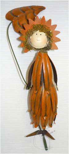 Orange Petal Dress Metal Garden Fairy Gift Stake