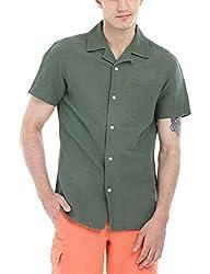 Zobello Men's Solid Camp Linen Shirt(11088C_Army Green_X-Small)