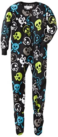 Komar Kids Little Boys' New Smile Skulls Blanket Sleeper, Black, X-Small (4/5)