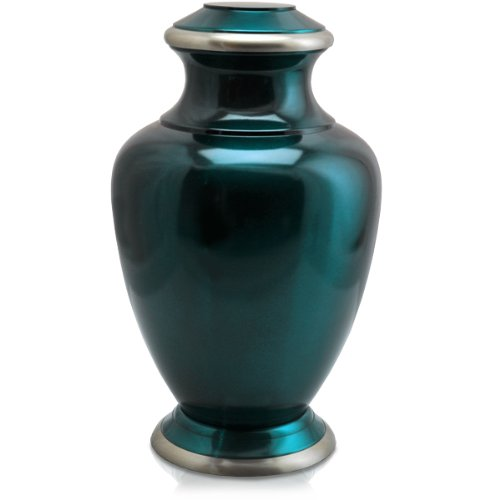 Cremation Urn: Shiny Turquoise Blue Full Size (Urns Full Size compare prices)