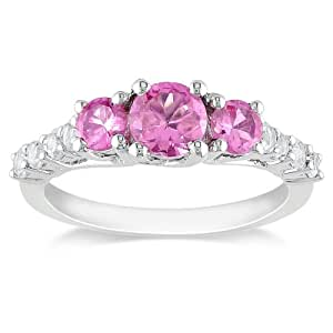 Sterling Silver Created Pink Sapphire Ring, Size 6