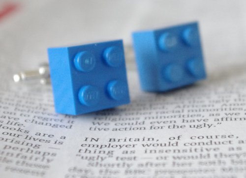 LEGO JEWELLERY CUFFLINKS in BLUE KITSCH EMO PUNK UNUSUAL GIFT IDEA