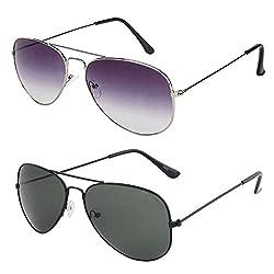 Rhodopsin UV Protected Purple Grey Aviator and Black Aviator Sunglasses for Women (Combo_Purple_Grey_Black_Aviator)