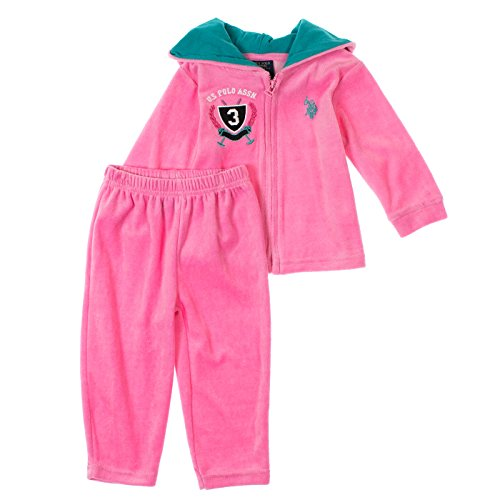 U.S. Polo Assn. Babygirls 2-Piece Velour Hoodie & Lounge Pants Set Pink Poppy front-1071945