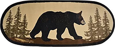 "Rug Empire Rustic Lodge Novelty Area Rug, 26"" W x 63"" L, Bear Oval, Multi"
