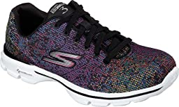 Skechers Performance Womens Go Walk 3-Digitize Walking Shoe, Black/Multi, 7.5 M US