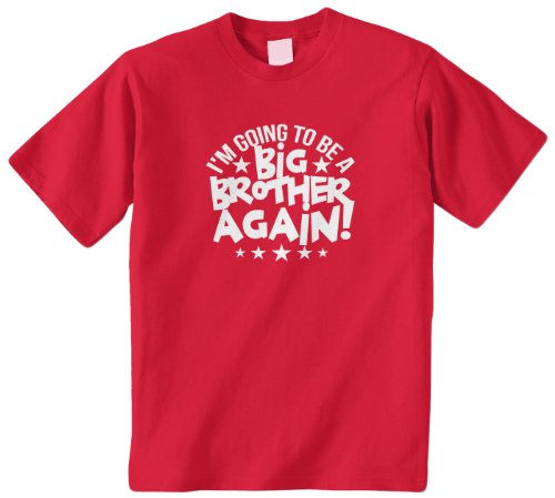 Threadrock Big Boys' I'M Going To Be A Big Brother Again Youth T-Shirt M Red front-1035553