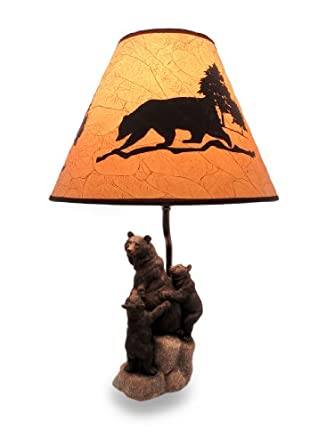 Sculptural Black Bear Family Desk Lamp W Leather Look Shade