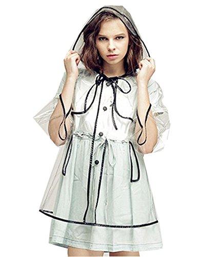 My Sky Fashion Women Clear Rain Coat with Hood Rain Jacket (Short)