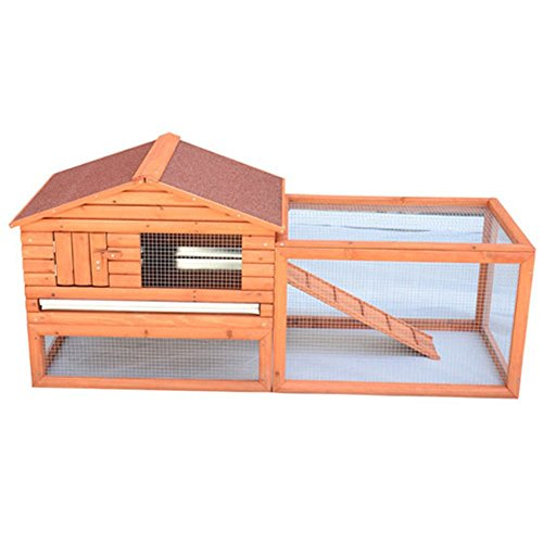 Pawhut Pawhut Outdoor Guinea Pig Pet House/Rabbit Hutch Habitat With Run, Brown, Wood, Large front-155567