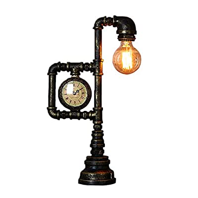 Desk Lamp, Lighting Vintage Industrial Water Pipe Table Light Edison Desk Accent Lamp With Clock Bar