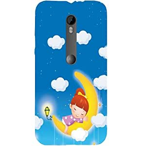 Casotec Sleep On Moon Design Hard Back Case Cover for Motorola Moto G 3rd Generation