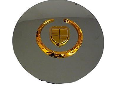 Set of 4 Otis Inc LA Cadillac Seville, Deville, El Dorado, DTS Chrome Wheel Center Cap with Gold Wreath and Crest