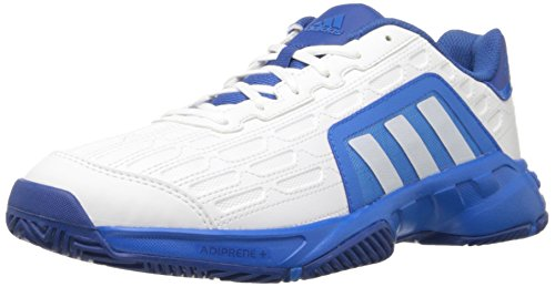 adidas Performance Men's Barricade Court 2 Tennis Shoe,White/White/Shock Blue,10.5 M US (Adidas Adiprene Shoes compare prices)