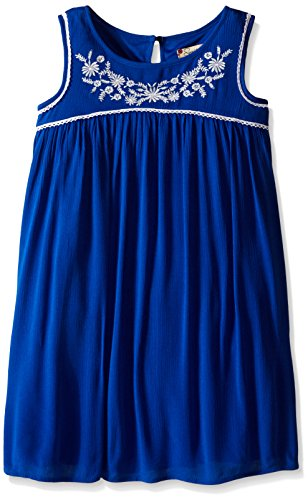 Speechless Girls' Gauze Knee Length Slv Less Round Neck, Cobalt, 8