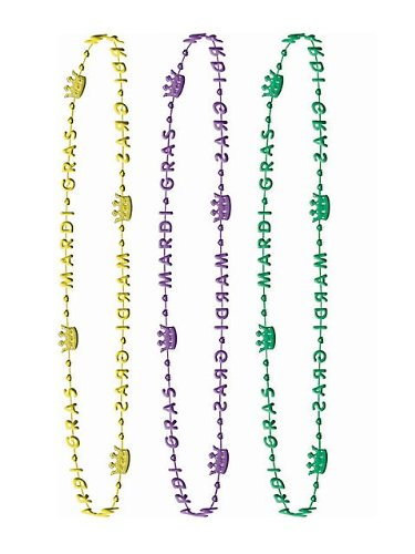 6 Piece Crown Mardi Gras Beads 32""