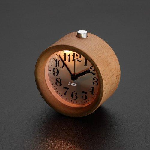 go2fionna Handmade Classic Small Round Silent table Snooze beech Wood Alarm Clock with nightlight