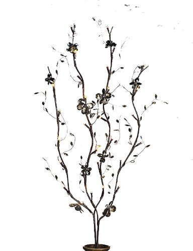 Everlasting Glow Battery Operated Led Smoke Gray Acrylic Mirror-Back Brown Wrapped Lighted Branches With Timer, 39-Inch