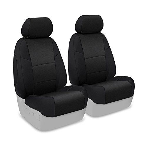 Coverking Custom Fit Front 50/50 Base Seat Cover For Select Mini Cooper Models - Neosupreme Solid (Black)