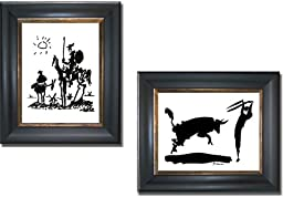 Don Quixote & Bullfight III by Picasso 2-pc Premium Black & Gold Framed Canvas Set (Ready-to-Hang)