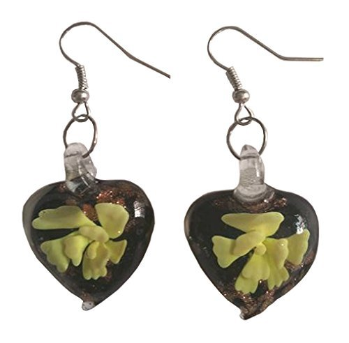 Black Glass Hearts with Yellow Flowers Dangle Earrings (Miss Daisy Fairy Costumes)