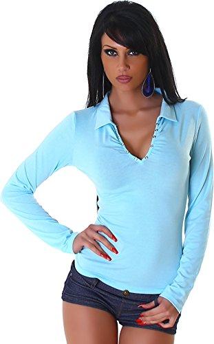 Jela London Damen Langarm-Shirt mit V-Ausschnitt Druckknöpfe