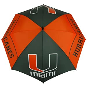 NCAA Miami Hurricanes 62-Inch WindSheer Hybrid Umbrella by Team Effort