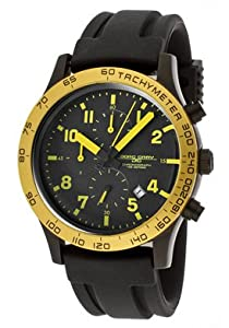 Jorg Gray 1900 Series Chronograph - Yellow Accents - Black Case & Strap