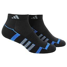 adidas Men\'s Climalite II Low Cut Socks (Pack of 2), Black/Bright Royal/Vista Grey, One Size