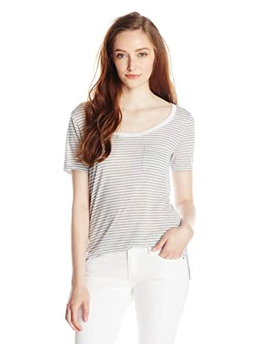 Three Dots Women's Stripe Pocket Tee