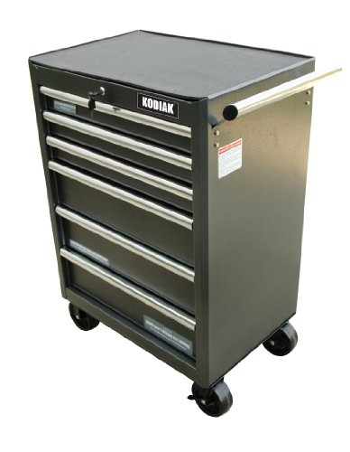 Kodiak Pro Elite 74606 26-Inch 6 Drawer Rolling Tool Cabinet, Silver/Black