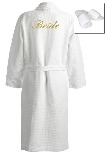 TowelsRus Wedding Day Bride Waffle Kimono Bathrobe, Large, White, 100% Natural Cotton 330gsm and FREE Open Toe Towelling Slippers