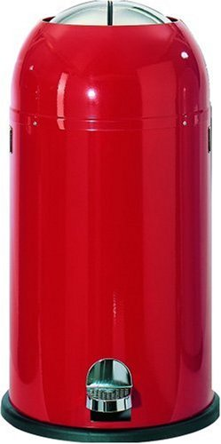 Wesco Kickmaster  Powder Coated Steel Waste Bin, 33 Litre, Red