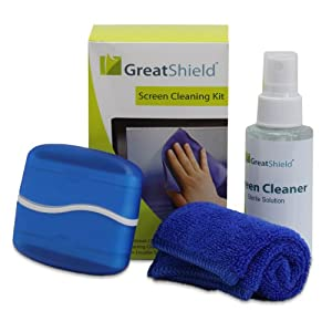 GreatShield LCD Screen Cleaning Kit with Microfiber Cloth, Double Sided Cleaning Brush and Non-Streak Solution for Touch Screen Devices and Monitors