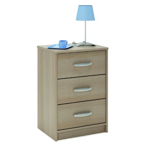 New York Bedside Cabinet - 3 Drawer Bedside Table - Blonde Oak Finish