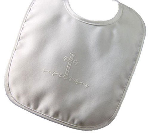 Boys Large Matte Satin Bib with Screened Cross