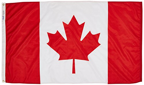 Canada Flag 3x5 ft. Nylon SolarGuard Nyl-Glo 100% Made in USA to Official United Nations Design Specifications by Annin Flagmakers.  Model 191337 (Canada Usa Flag compare prices)