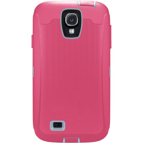 Otterbox Defender Series Case With Holster Clip For Galaxy S4 - Retail Packaging - Blaze Pink / Powder Grey