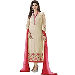 Latest Wize Off-White Straight Cut Georgette Party Dress Material with Chiffon Dupatta