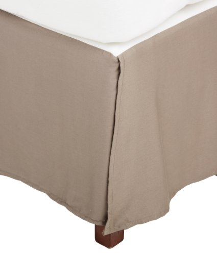 Impressions Genuine Egyptian Cotton 300 Thread Count Pleated Queen Bed Skirt Solid, Grey