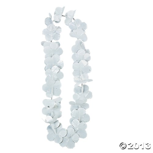 1 Dz. White Flower Leis - Hawaii Party Supplies