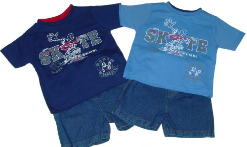 Toddler Boys' Denim Shorts Outfit with Skateboard Print - Buy Toddler Boys' Denim Shorts Outfit with Skateboard Print - Purchase Toddler Boys' Denim Shorts Outfit with Skateboard Print (Teddy Boom, Teddy Boom Apparel, Teddy Boom Toddler Boys Apparel, Apparel, Departments, Kids & Baby, Infants & Toddlers, Boys, Shorts)
